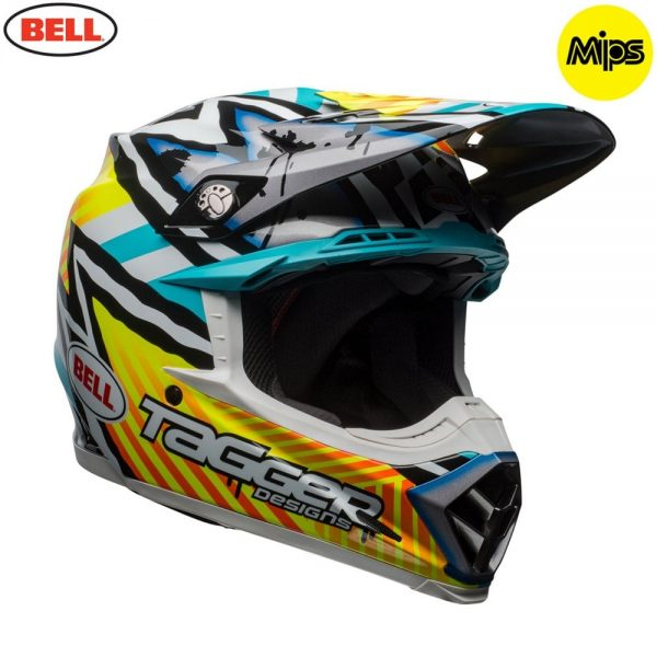 1548941233-06724500.jpg-Bell MX 2018 Moto-9 Mips Adult Helmet (Tagger Yellow/Blue/White)