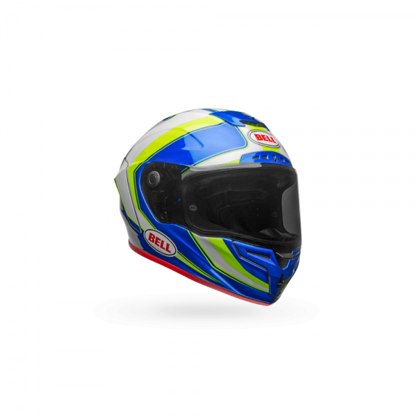 1548944801-23448400.png-Bell Street 2018 Race Star Adult Helmet (Sector White/Hi-Viz Green/Blue)