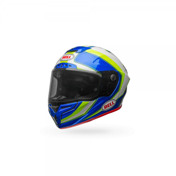 1548944899-25040100.png-Bell Street 2018 Race Star Adult Helmet (Sector White/Hi-Viz Green/Blue)