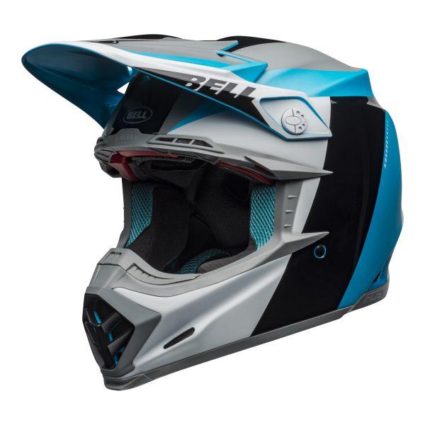 bell-moto-9-flex-dirt-helmet-division-matte-gloss-white-black-blue-front-left.jpg-Bell MX 2021 Moto-9 Flex Adult Helmet (Division M/G White/Black/Blue)