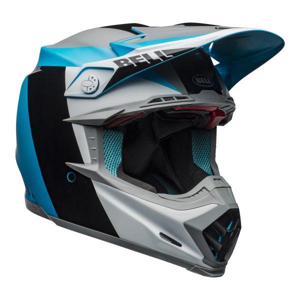 bell-moto-9-flex-dirt-helmet-division-matte-gloss-white-black-blue-front-right.jpg-Bell MX 2021 Moto-9 Flex Adult Helmet (Division M/G White/Black/Blue)