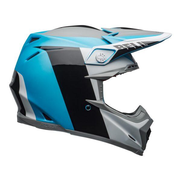 bell-moto-9-flex-dirt-helmet-division-matte-gloss-white-black-blue-right.jpg-Bell MX 2021 Moto-9 Flex Adult Helmet (Division M/G White/Black/Blue)