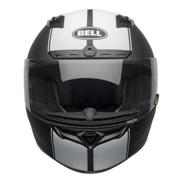 bell-qualifier-dlx-mips-street-helmet-rally-matte-black-white-front-clear-shield_copy__35260.1601550706.jpg-Bell Street 2021 Qualifier DLX Mips Adult Helmet (Rally Matte Black/White)