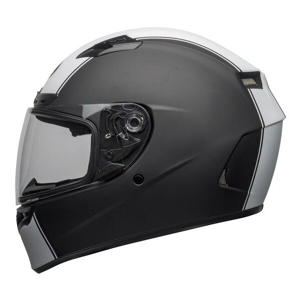 bell-qualifier-dlx-mips-street-helmet-rally-matte-black-white-left-clear-shield__05631.1601550706.jpg-Bell Street 2021 Qualifier DLX Mips Adult Helmet (Rally Matte Black/White)