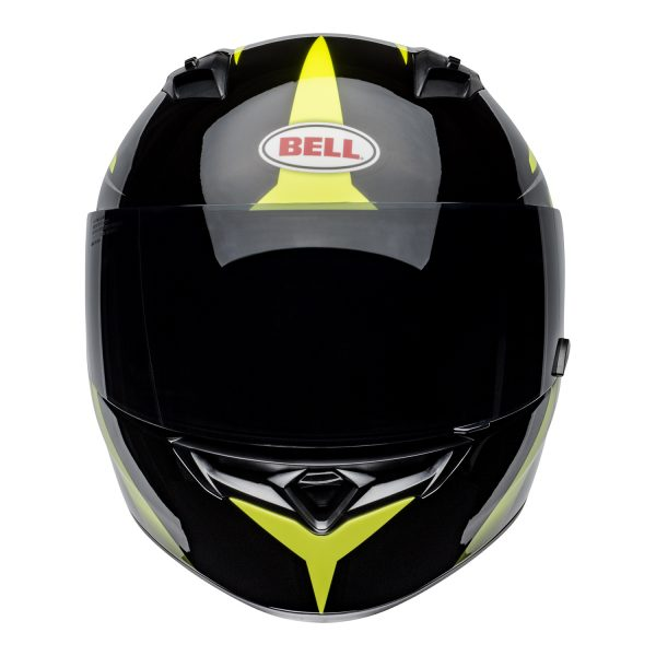bell-qualifier-street-helmet-flare-gloss-black-hi-viz-front.jpg-Bell Street 2021 Qualifier STD Adult Helmet Helmet (Flare Gloss Black/Hi-Viz)
