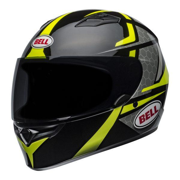 bell-qualifier-street-helmet-flare-gloss-black-hi-viz-front-left.jpg-Bell Street 2021 Qualifier STD Adult Helmet Helmet (Flare Gloss Black/Hi-Viz)