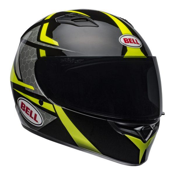 bell-qualifier-street-helmet-flare-gloss-black-hi-viz-front-right.jpg-Bell Street 2021 Qualifier STD Adult Helmet Helmet (Flare Gloss Black/Hi-Viz)