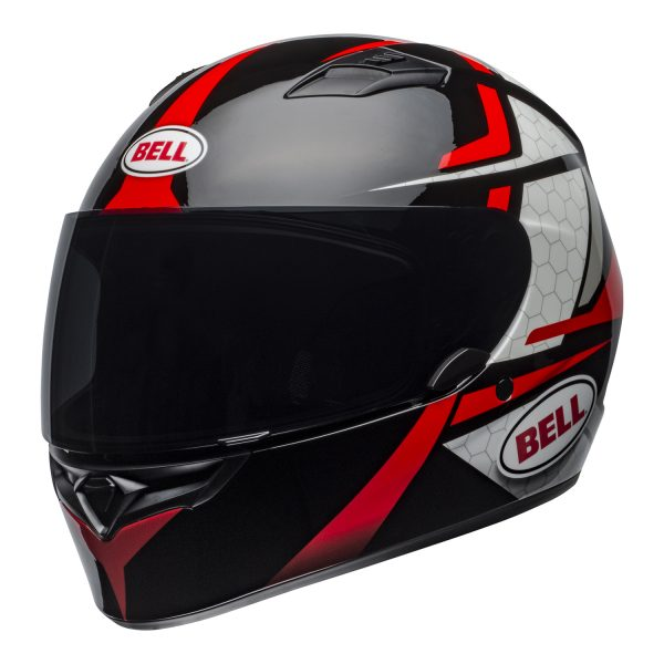 bell-qualifier-street-helmet-flare-gloss-black-red-front-left.jpg-Bell Street 2021 Qualifier STD Adult Helmet Helmet (Flare Gloss Black/Red)