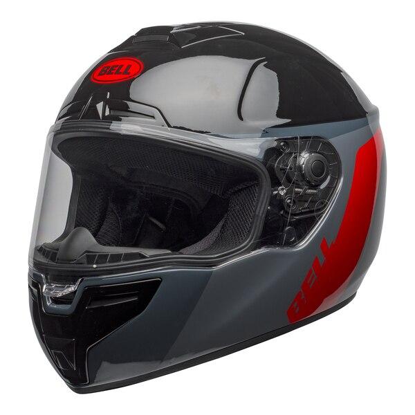 bell-srt-street-helmet-razor-gloss-black-gray-red-front-left-clear-shield__64342.1601548015.jpg-Bell Street 2021 SRT Adult Helmet (Razor Black/Grey/Red)