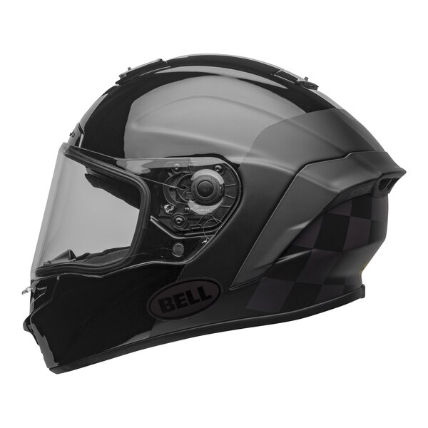 bell-star-dlx-mips-ece-street-helmet-lux-checkers-matte-gloss-black-root-beer-left-clear-shield__94606.1603185523.jpg-Bell Street 2021 Star DLX MIPS Adult Helmet Helmet (Lux Checkers M/G Black/Rootbeer)